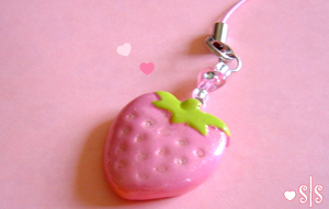 Strawberry Cell Phone Strap by y2687