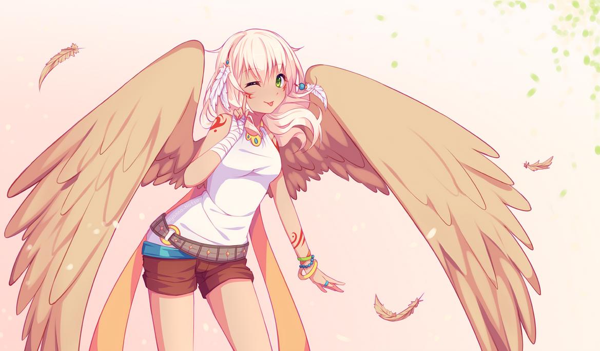 anime girls belts feathers - photo #22