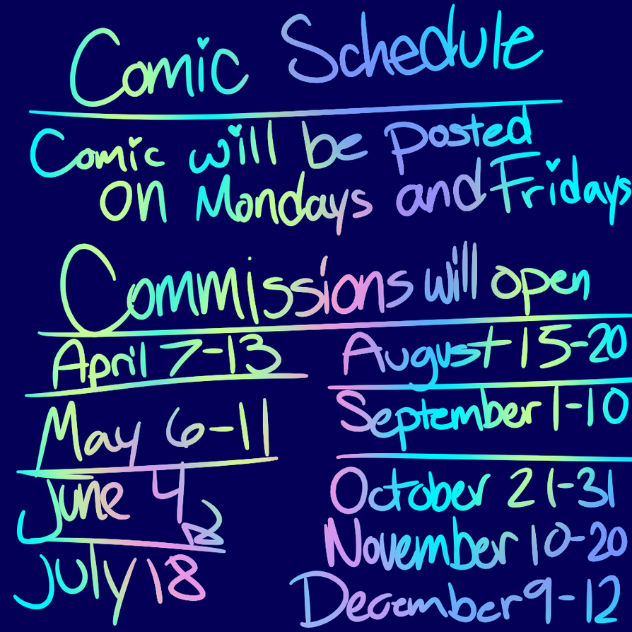 Schedule for this year!! by Yasmindraws