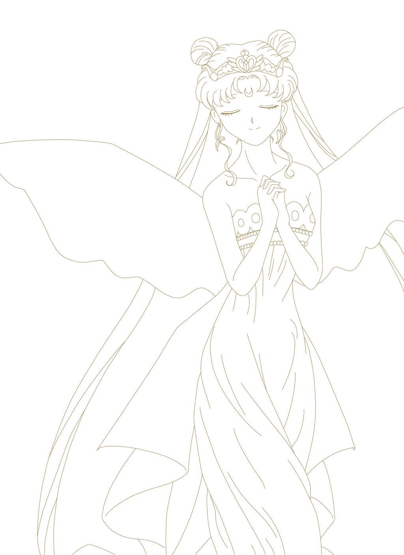 Line Art Queen : Neo queen serenity lineart by nightaura on deviantart