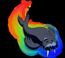 Rainbow Walrus by AniMerrill