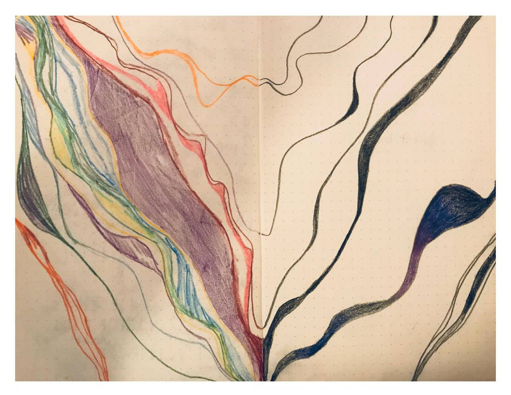abstract drawing from a sketch book, waves like mountain ranges in a variety of colors