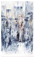 a dark blue curtain of rain
