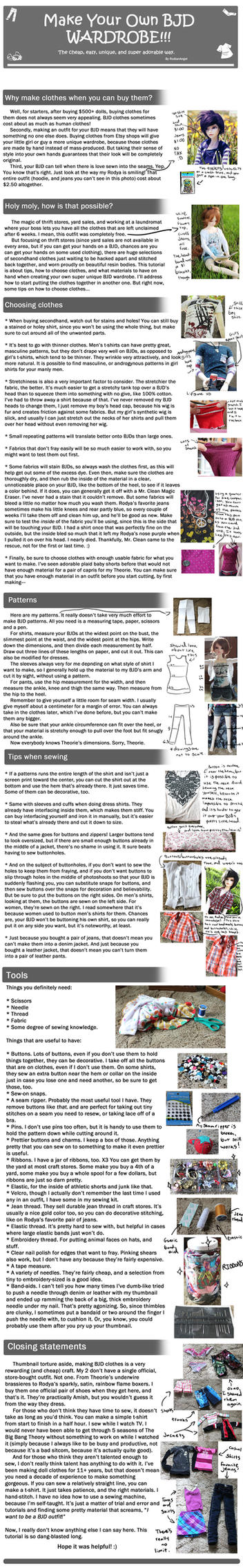 How to Make Your Own BJD Wardrobe! by RodianAngel