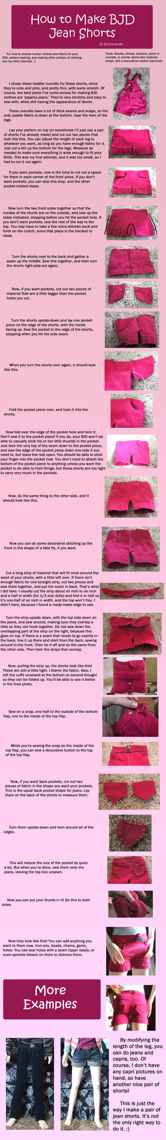 How to Make BJD Jean Shorts by RodianAngel