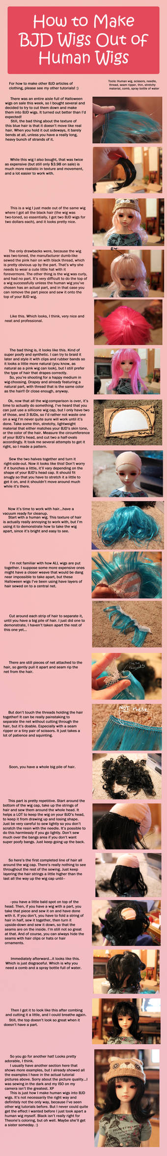How to Make BJD Wigs out of Human Wigs