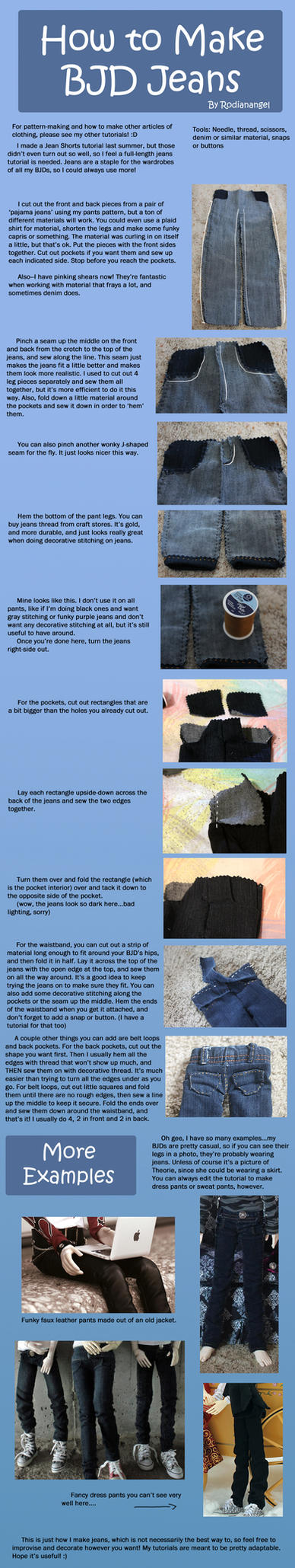 How to Make BJD Jeans by RodianAngel