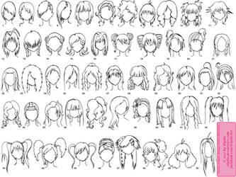 Various Female Anime+Manga Hairstyles by Elythe