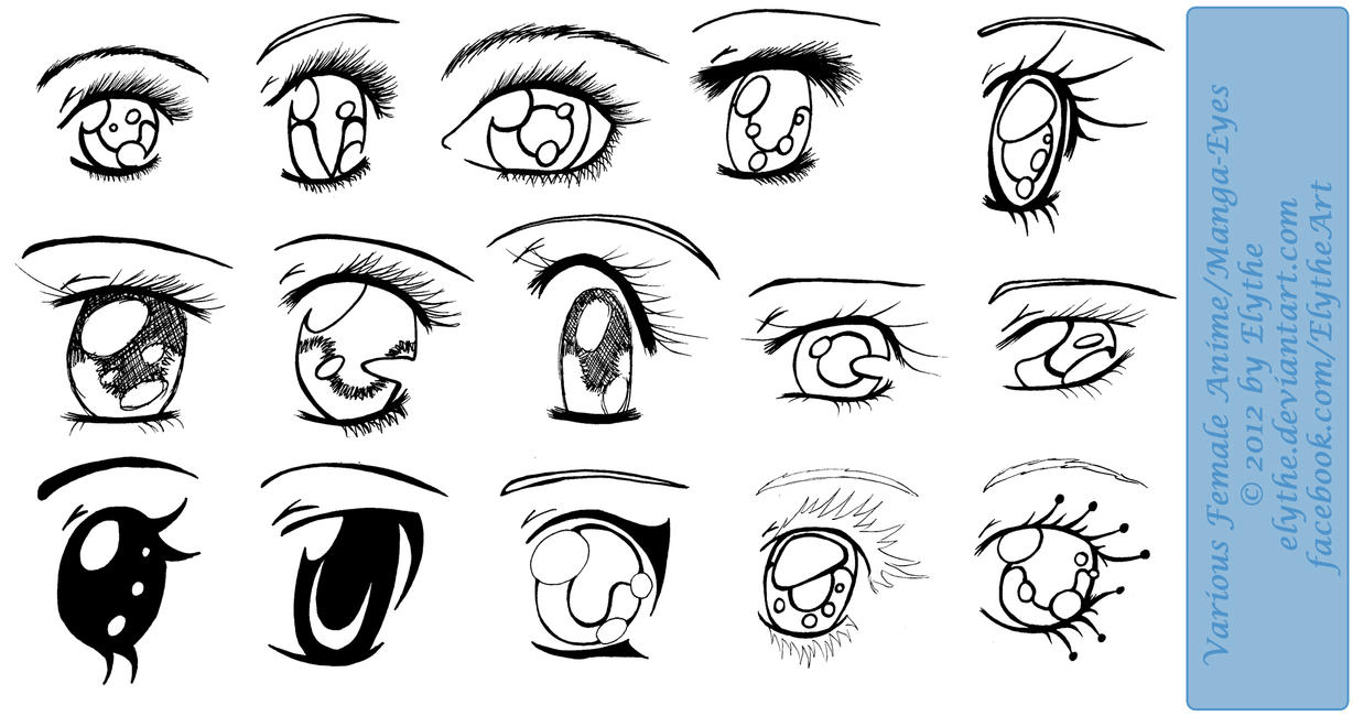 Various Female Anime Manga Eyes By Elythe