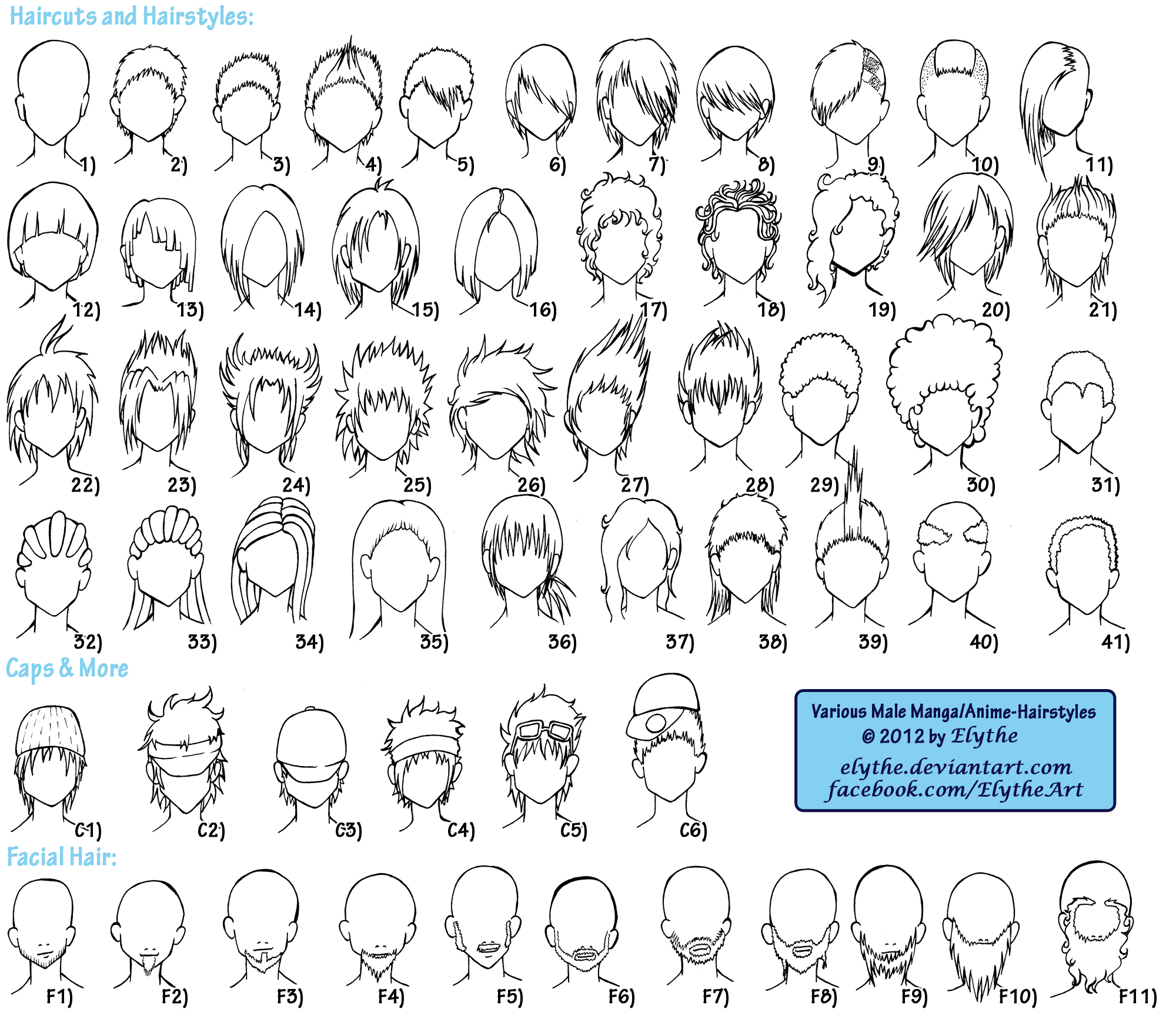Various Male AnimeManga Hairstyles By Elythe On DeviantArt - Anime hairstyle names