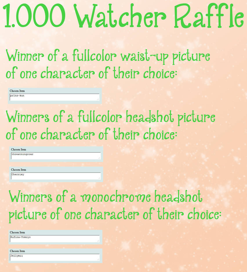 Raffle Results by Elythe