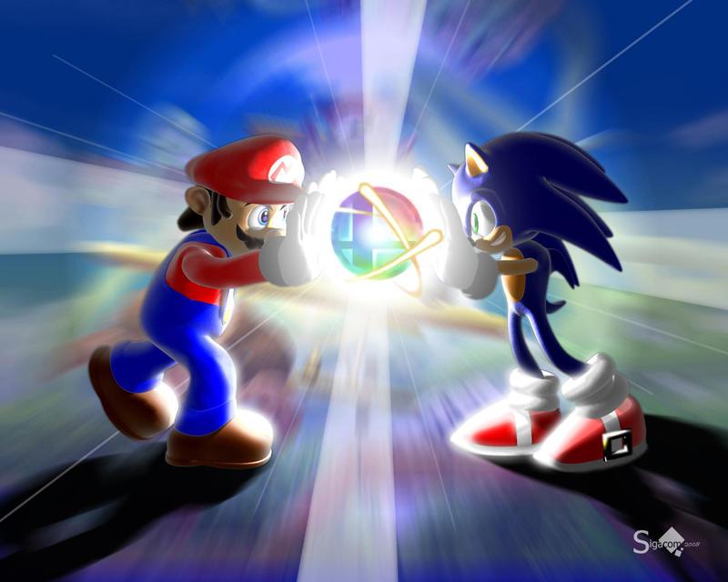 Mario Brawls Sonic by Sigacomer