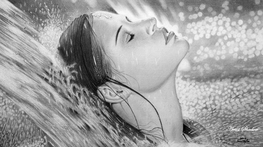 Girl in Waterfall by Artist-Shadow