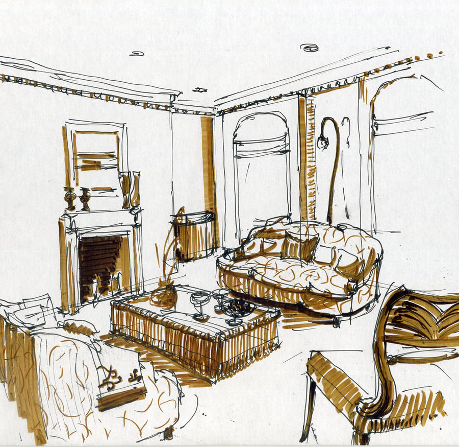 Interior drawing by hardcorish on deviantart for Interior designs sketches