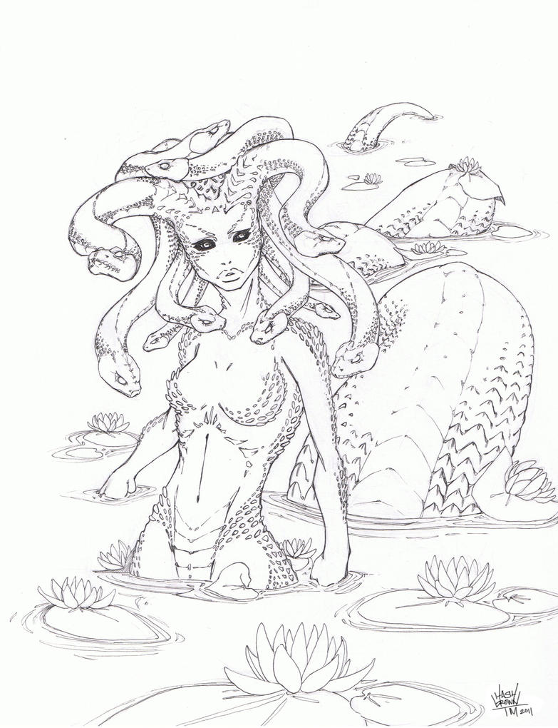 Battle artist medusa by hashbrown tm on deviantart for Medusa coloring pages