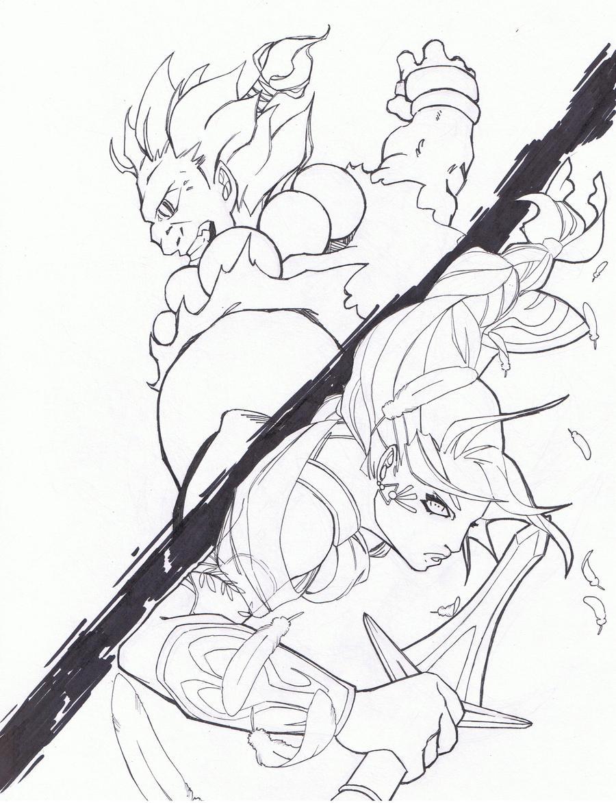 Line Drawing Vs Mass Drawing : Raging demon vs battle angel by hashbrown tm on deviantart