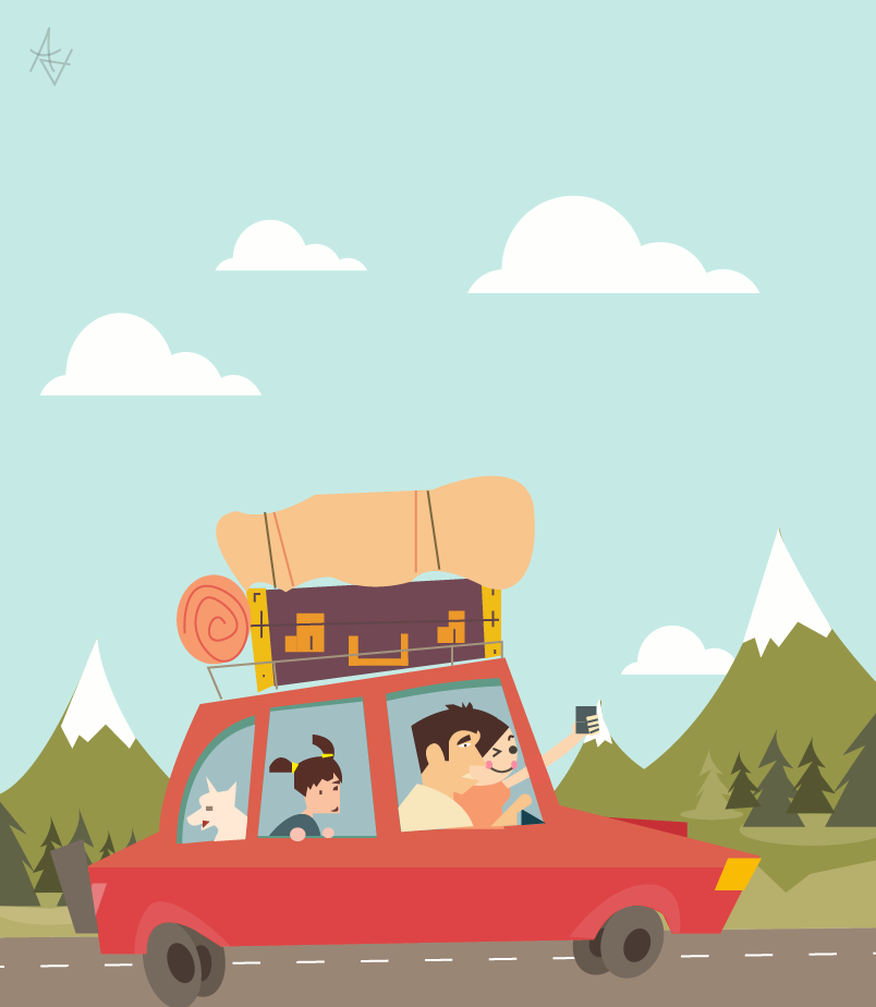 family travel flat illustration by axd1992