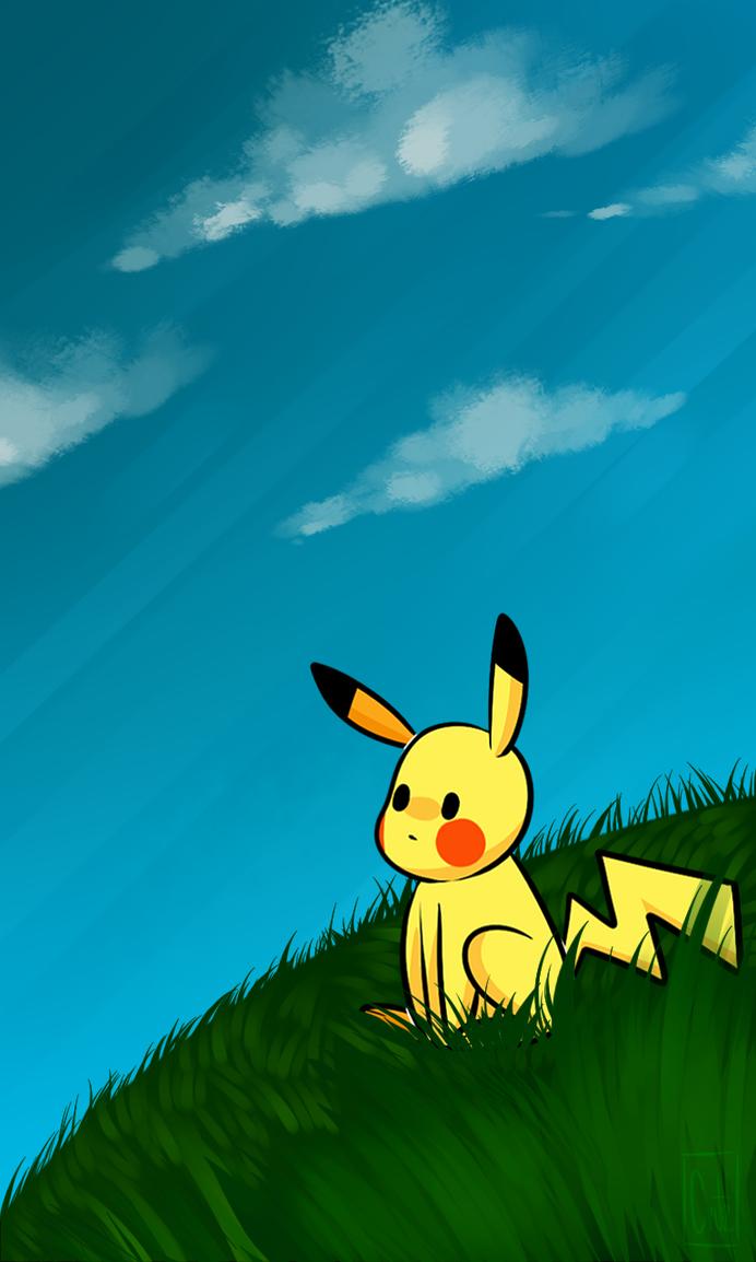 Cell phone wallpaper- Pikachu by dgina