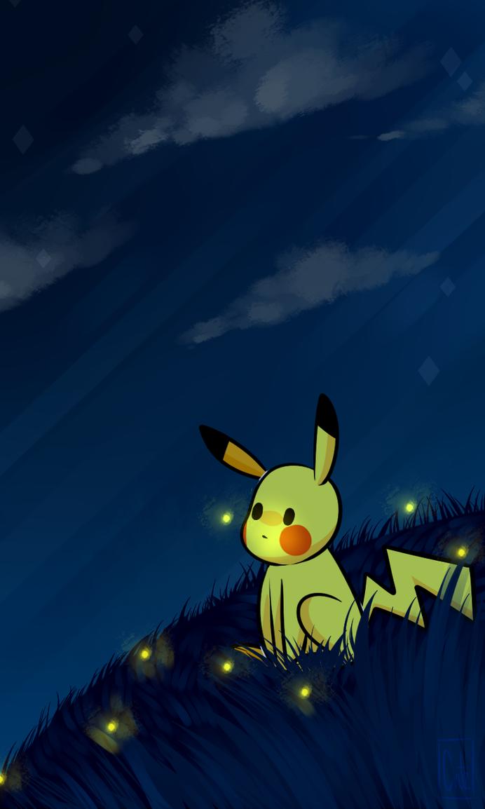 Cell phone wallpaper- Pikachu 2 by dgina