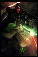 Darth Revan versus master Yoda by Baldraven