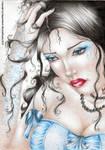 In a blue corset