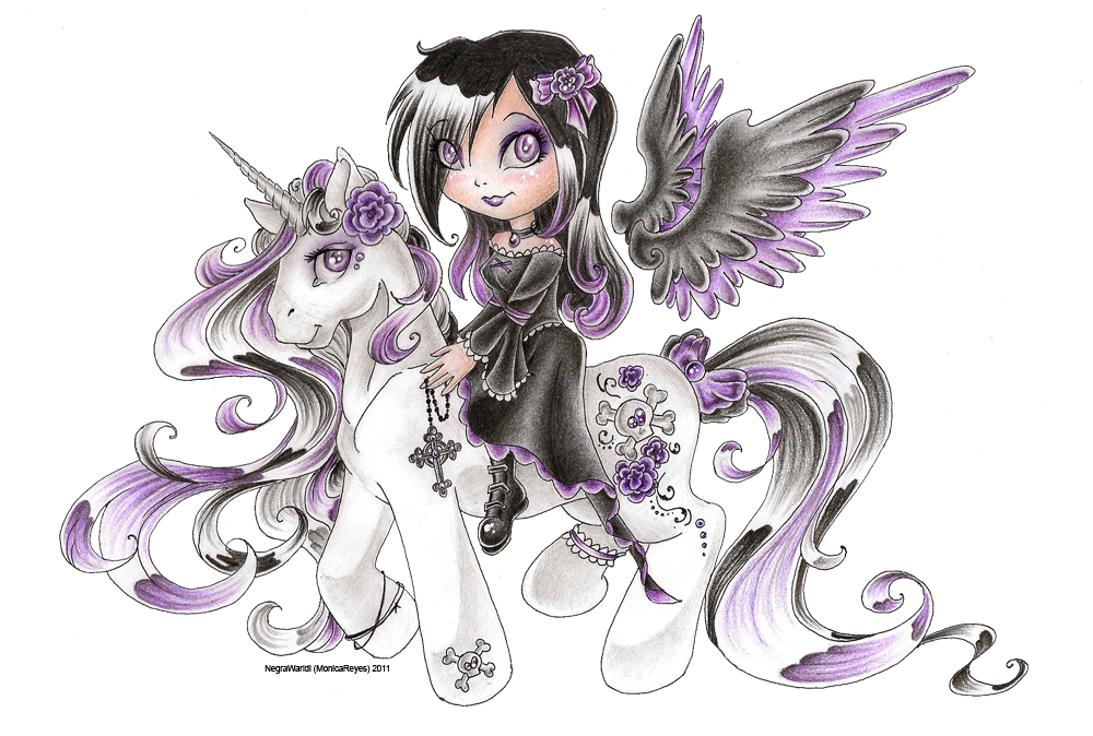 Gothic angel's pony by NegraWaridi