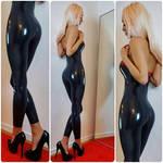 black latex catsuit black heels