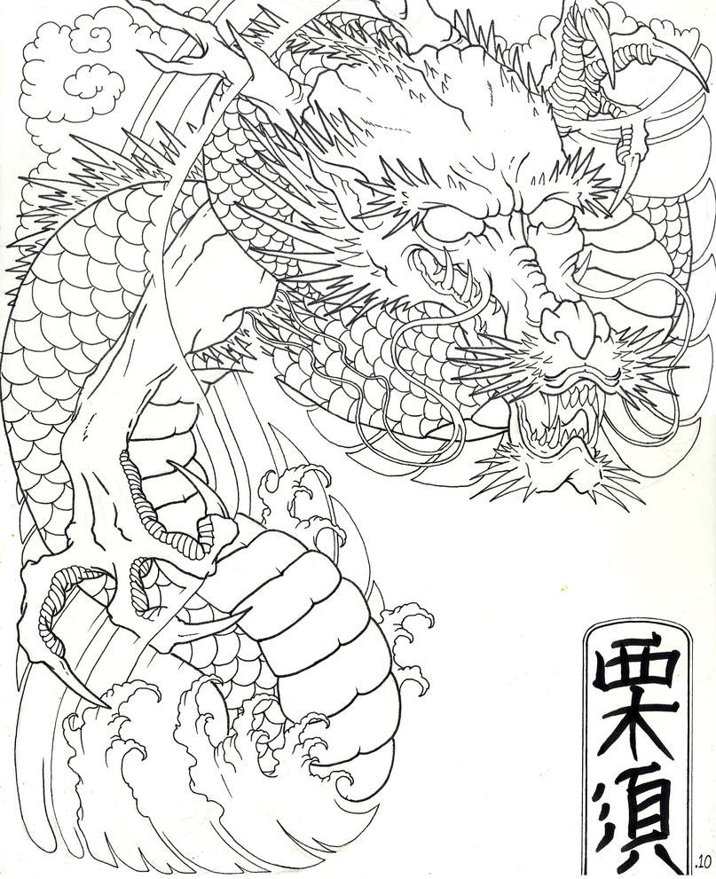 Japanese Tattoo Line Drawing : Traditional japanese dragon by xcjxedge on deviantart
