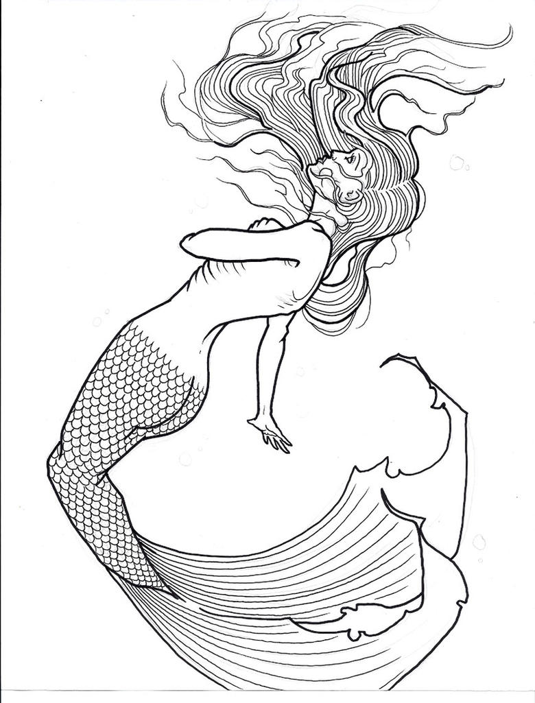 Line Drawing Mermaid : Mermaid flash by xcjxedge on deviantart