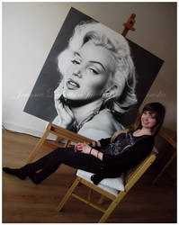 Pencil portrait of Marilyn Monroe - studio view by Ladowska