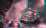 Ghost ship approaching Relief 3D Anaglyph Red Cyan