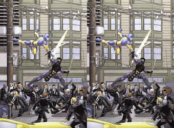 Ninjak Vs The Valiant Bob Layton cross view 3D by Fan2Relief3D