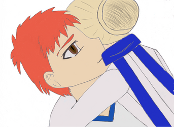 Saber Hugs Shirou (Colored) by thundercat287