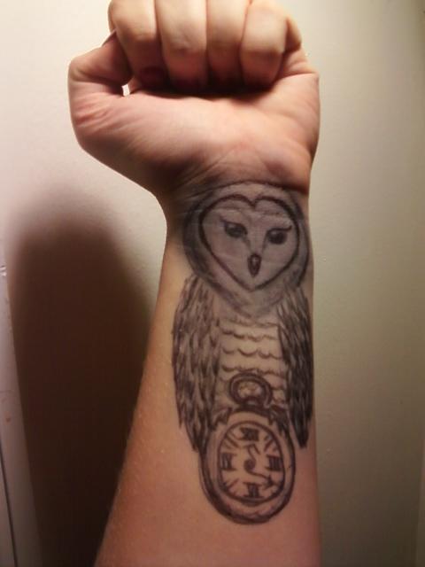 Pocket Watch Owl Tattoo Owl and Pocketwatch by...