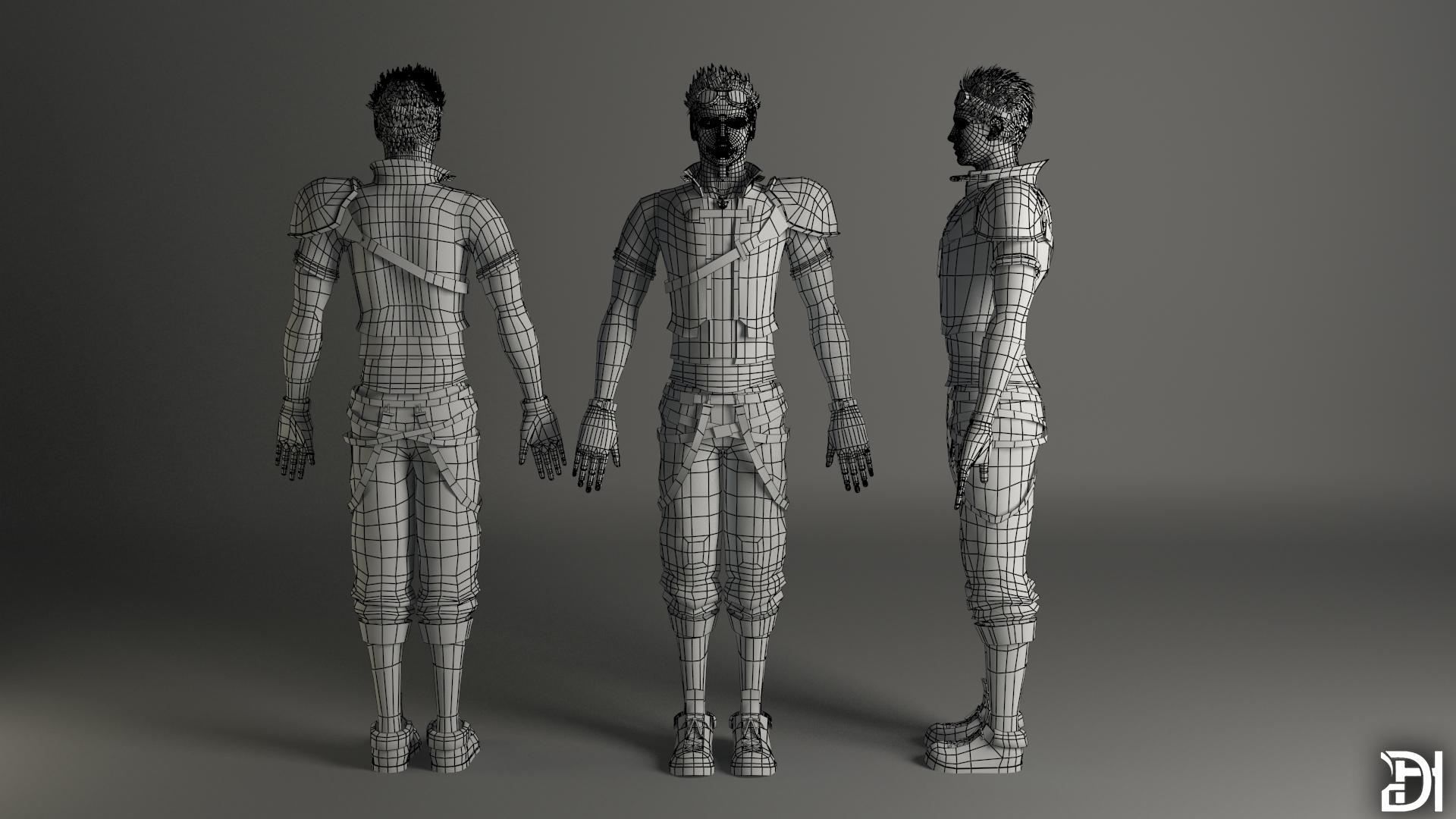 Full Character Wireframe Render By 02wdhull On DeviantArt
