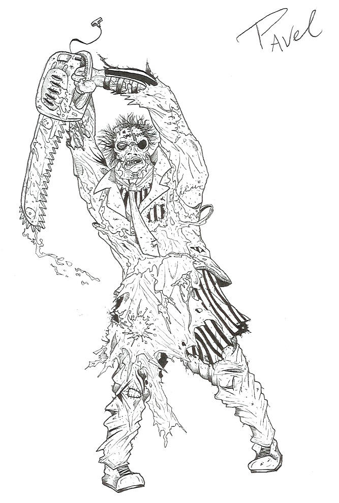 Leatherface by manslauter on deviantart for Chainsaw coloring pages