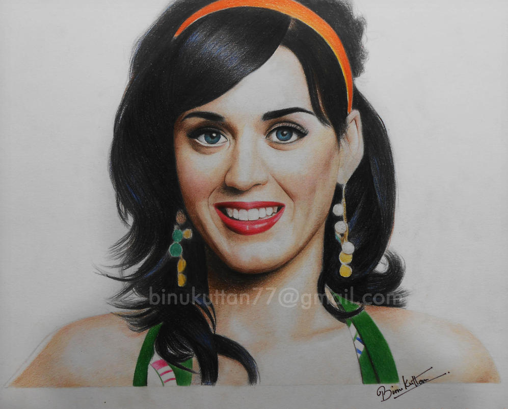 Katy perry color pencil drawing by binukuttan