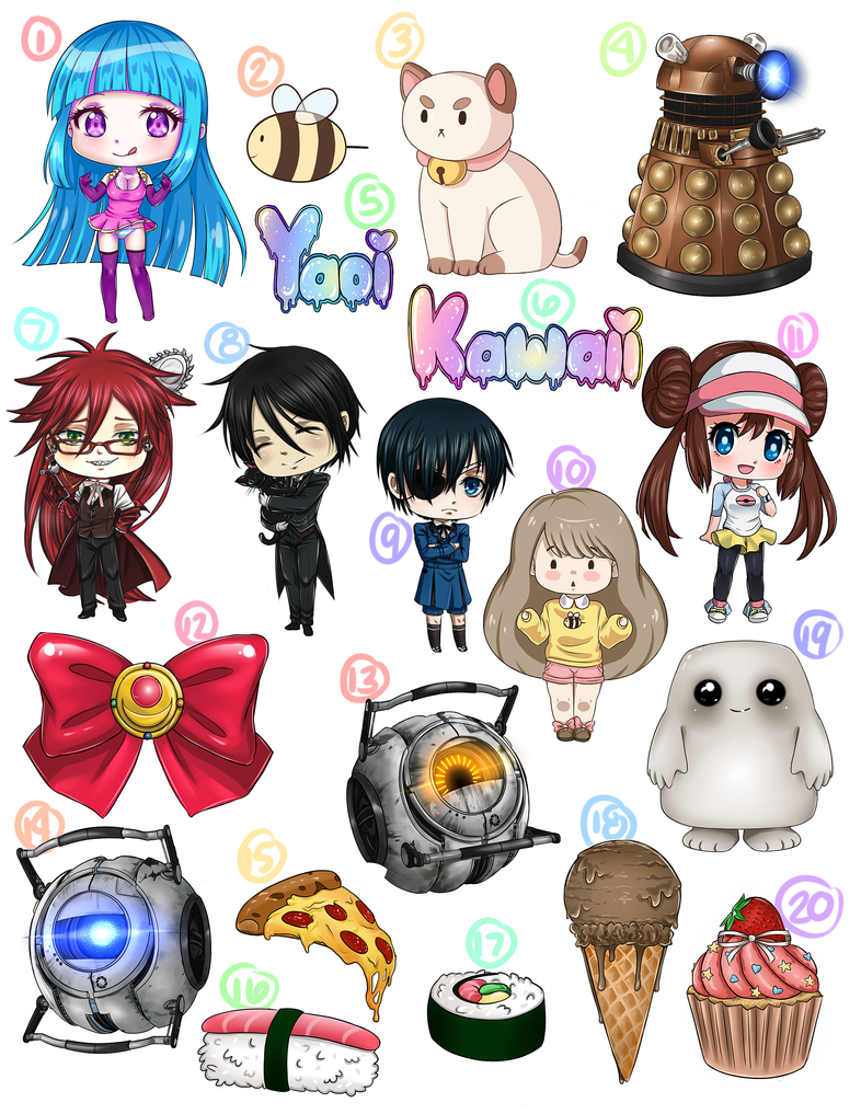 for sale anime character stickers and food by kazumimai on deviantart