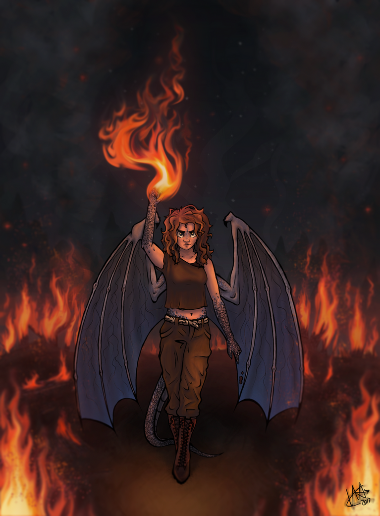 Through the flames ... by CobaltSunrise