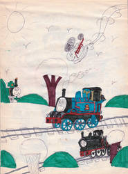 Childhood Drawings #2: Thomas and his Friends by 01Salty