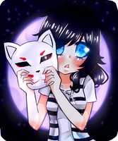 Youkai moon foxes by HoneyNelly