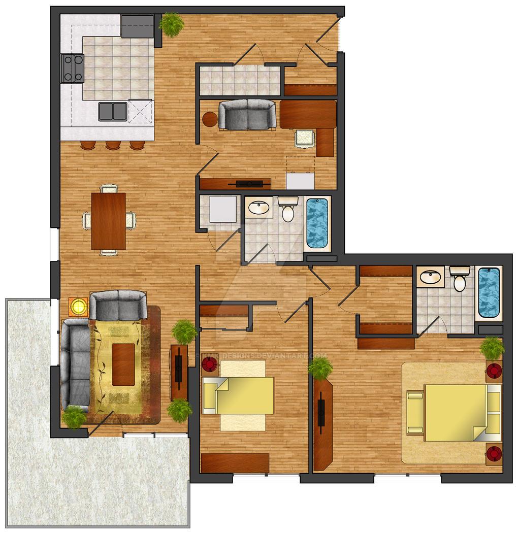 Rendered floor plan by kmk designs on deviantart for Houseplans net