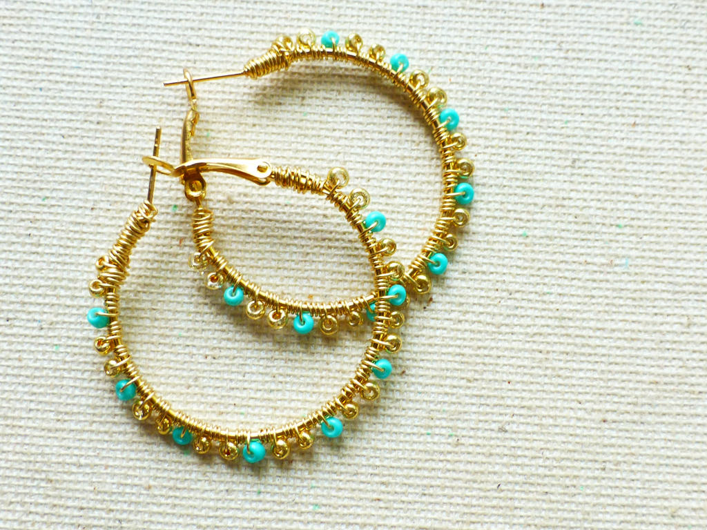 Gold and Turquoise Wire Wrapped Hoop Earrings by picklesjewelrybox ...