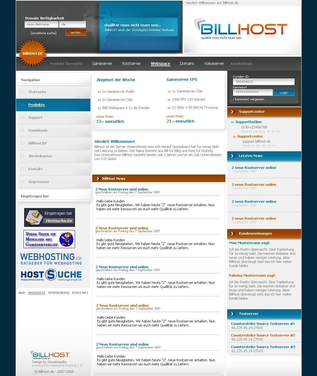 BillHOST Website by K6WEBMEDIA