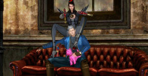 Bayonetta x Vergil and pink dog in dmc shop office