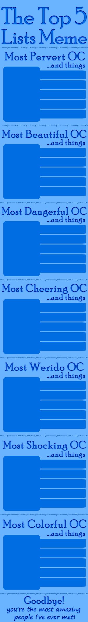 The Top Five Lists Meme Blank by Commaki