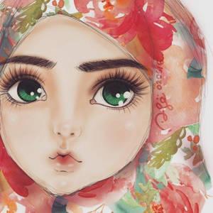 Pink Watercolor Hijab