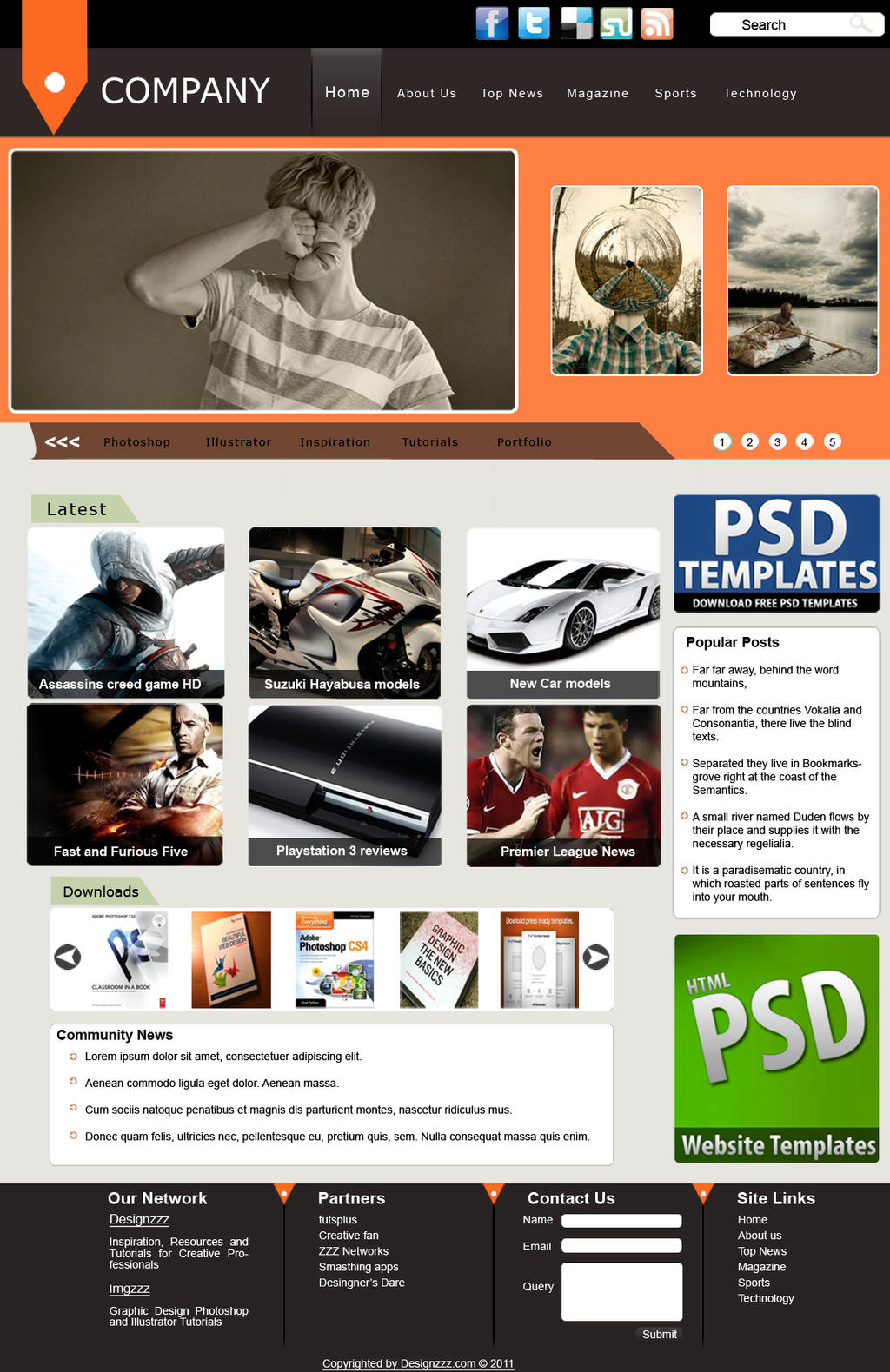 web magazine template