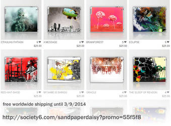 Introducing my Society6 shop - showing iPad skins by sandpaperdaisy