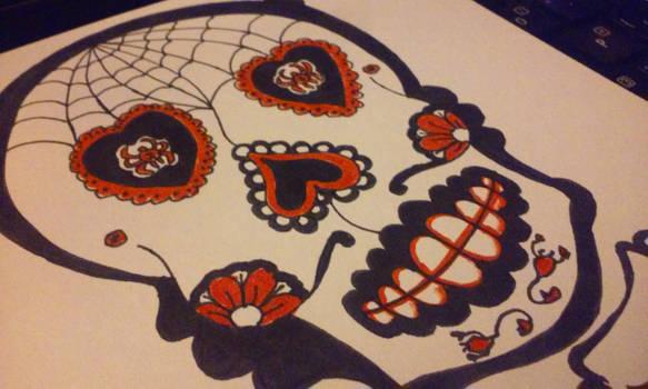 Sugar Skull hand-drawn Valentine commission